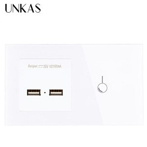 UNKAS EU Standard 1 Gang 1 Way Touch Switch and Power Outlet With Dual USB Smart Induction Charge Port For Mobile 5V 2.1A