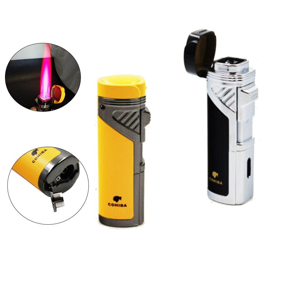 COHIBA encendedor de cigarro a prueba de viento 4 antorcha llama tipo soplete cigarrillo Gas butano Metal recargable con puro golpe de Gas NO con caja de regalo