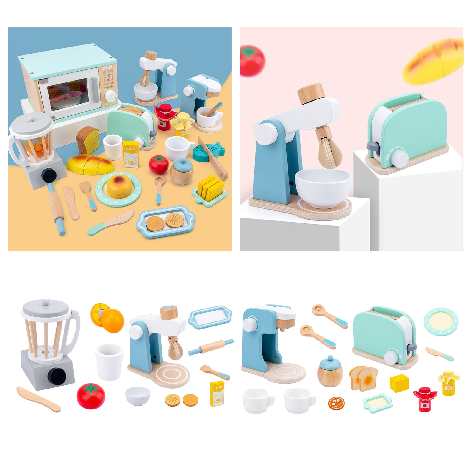Wooden Pretend Play Sets Kitchen Accessories Early Learning Education Gifts