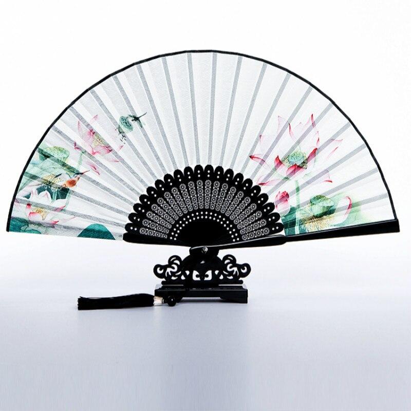 Abanico plegable de seda Para baile, ventilador plegable Vintage portátil Para mujer,...