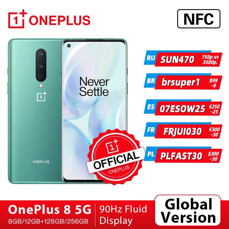 OnePlus 8 Глобальная версия 5G-смартфон 8 ГБ 128 ГБ Snapdragon 865 6,55'' 90 Гц жидкокрист