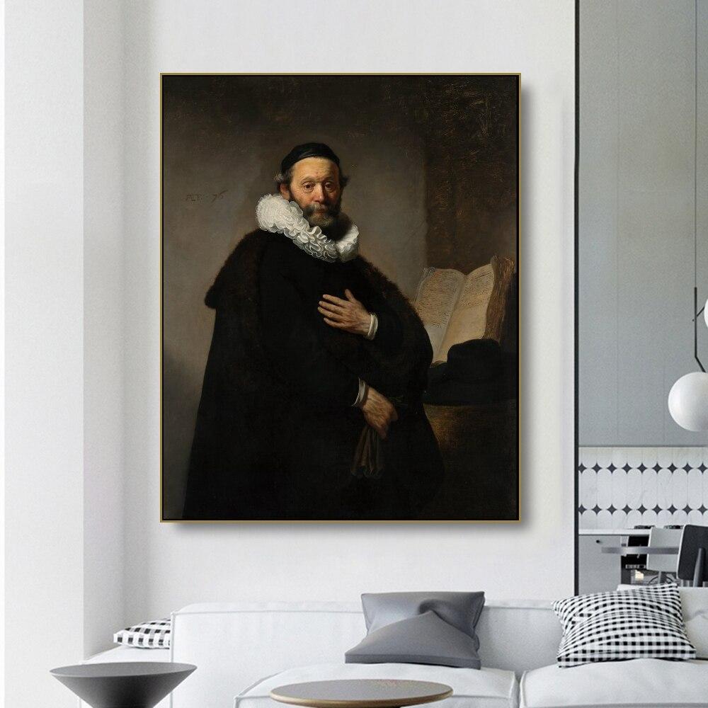 Peinture à lhuile et toile en forme de Portrait du ministre   Affiche artistique Rembrandt, décor mural, décoration de maison moderne pour salon