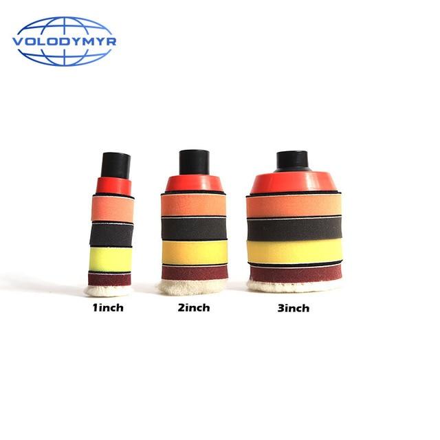 Набор для полировки дрели, полировальная Подушка 1, 2 или 3 дюйма, включает в себя красную губку для обработки воском, автомобильный буфер, полировщик для полировки