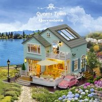 doll house queenstown miniature diy wooden dollhouse furnitures cherry blossom toys with car dust cover