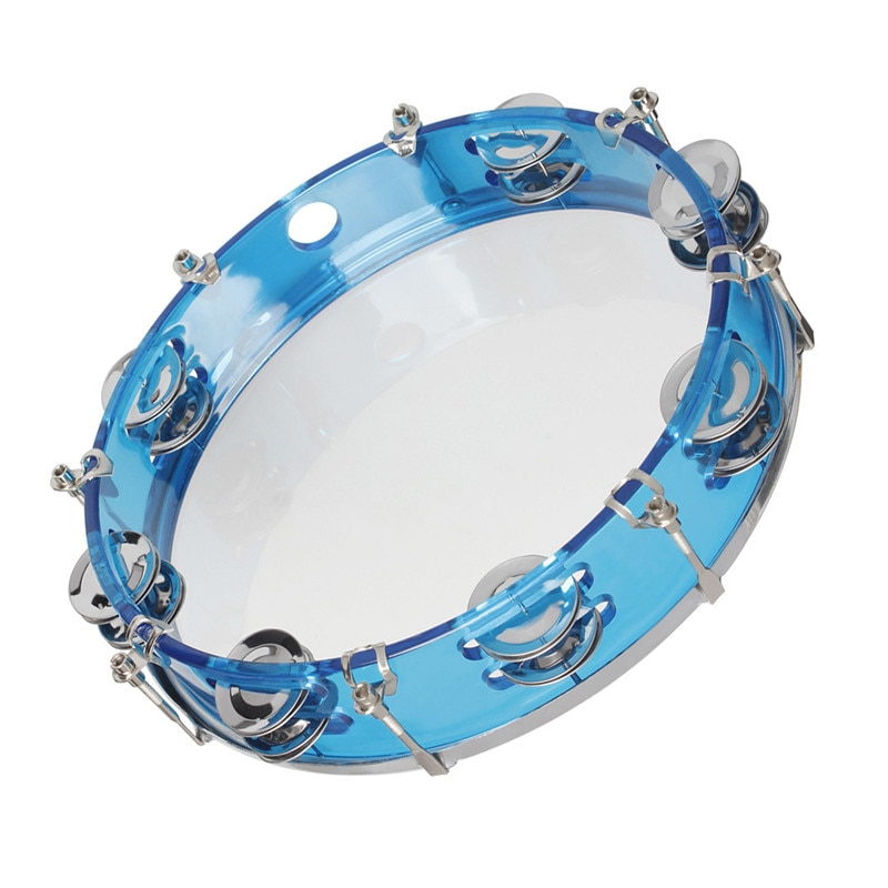 10.5 Inch Self-tuning Blue Red Hand Tambourine Musical Percussion Instrument Orff Percussion Instrument ABS Metal Material enlarge