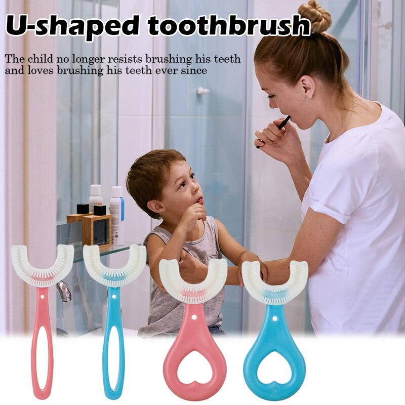 Toddler Toothbrush U-shaped Children's Brush 360° Silicone Toothbrush Kids Tooth Brush Soft Dental