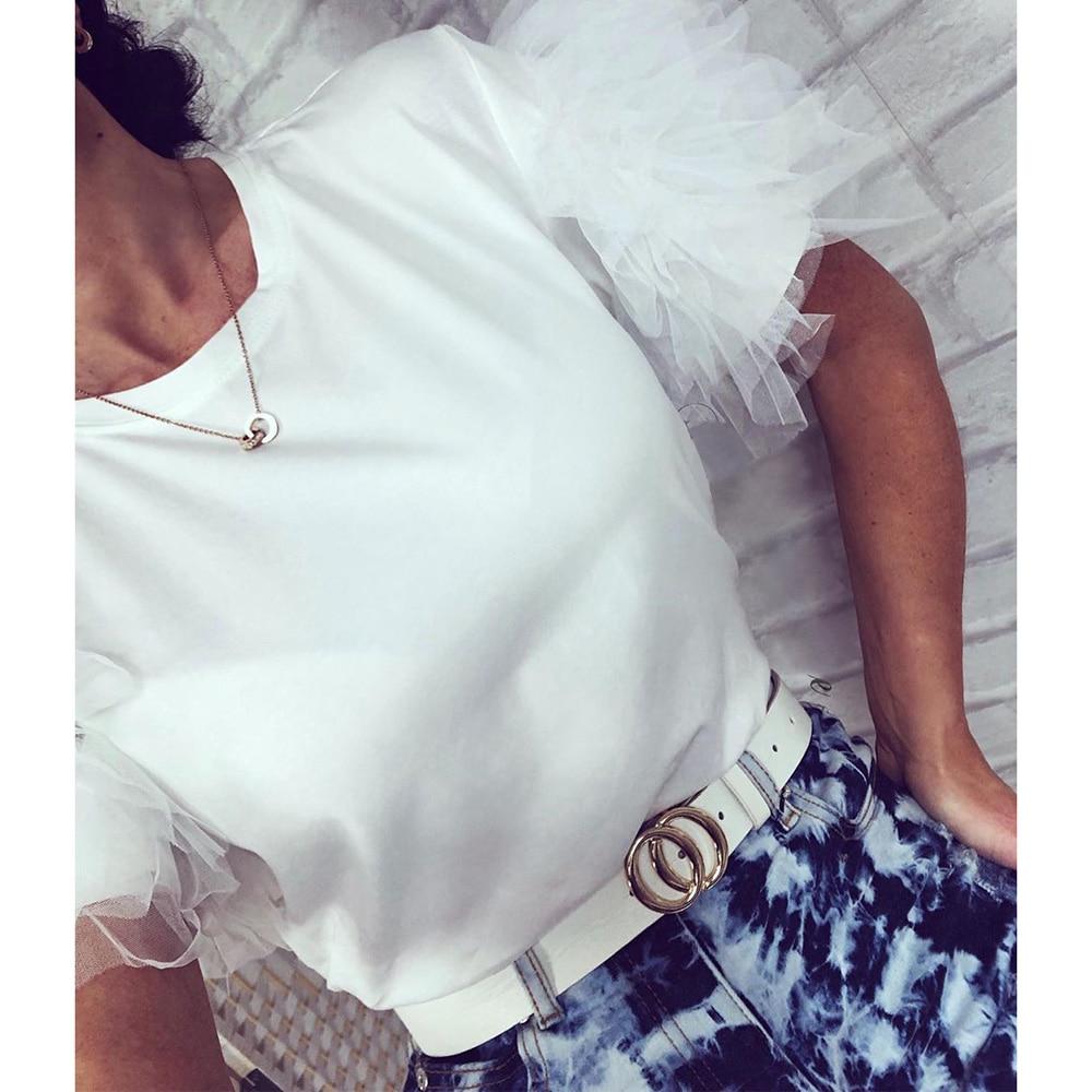 Mesh Petal Short Sleeve T-shirt Women Aesthetic Summer 2020 Tops O Neck Office Lady Skirt Korean Street Fashion Woman Streetwear