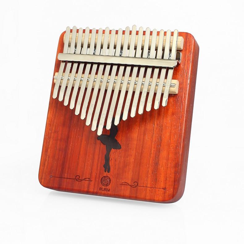 PURM 17 teclas Kalimba africano de madera maciza dedo pulgar fortepian Sanza Mbira Caliba z guitarra instrumentos musicales