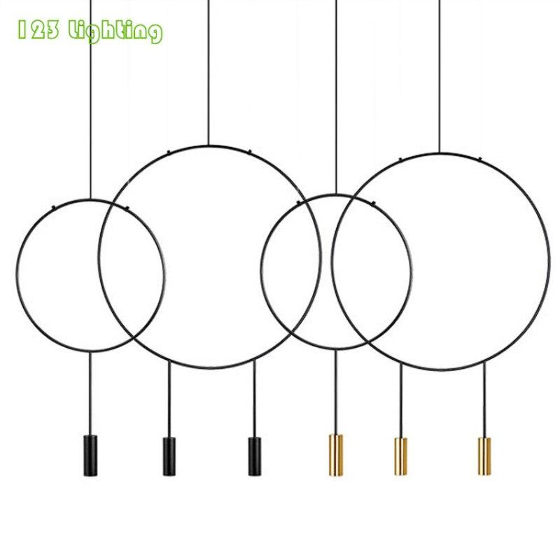 Nuevo diseño LED Lámpara colgante de restaurante dorado/Negro barra de Metal Hanglamp salón arañas LED iluminación minimalista del hogar Loft