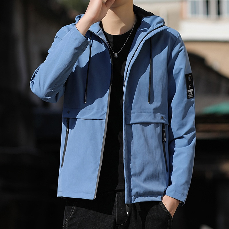 New Autumn Men's Handsome Casual Loose movement Tooling Jacket popular All-match Fashion lapel trend Cotton Coat Brand Clothes