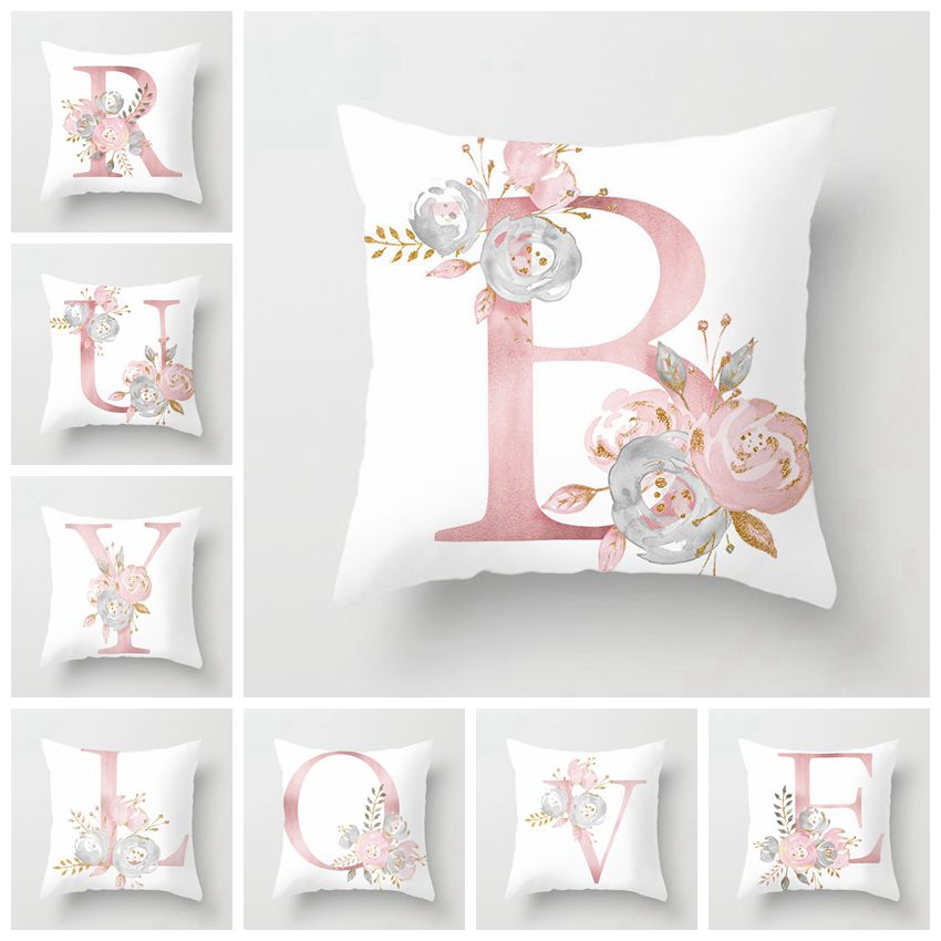 RUBYLOVE Pink Letter Decorative Pillow Cushion Covers Pillowcase Cushions for Sofa Polyester Pillowcover cuscini decorative