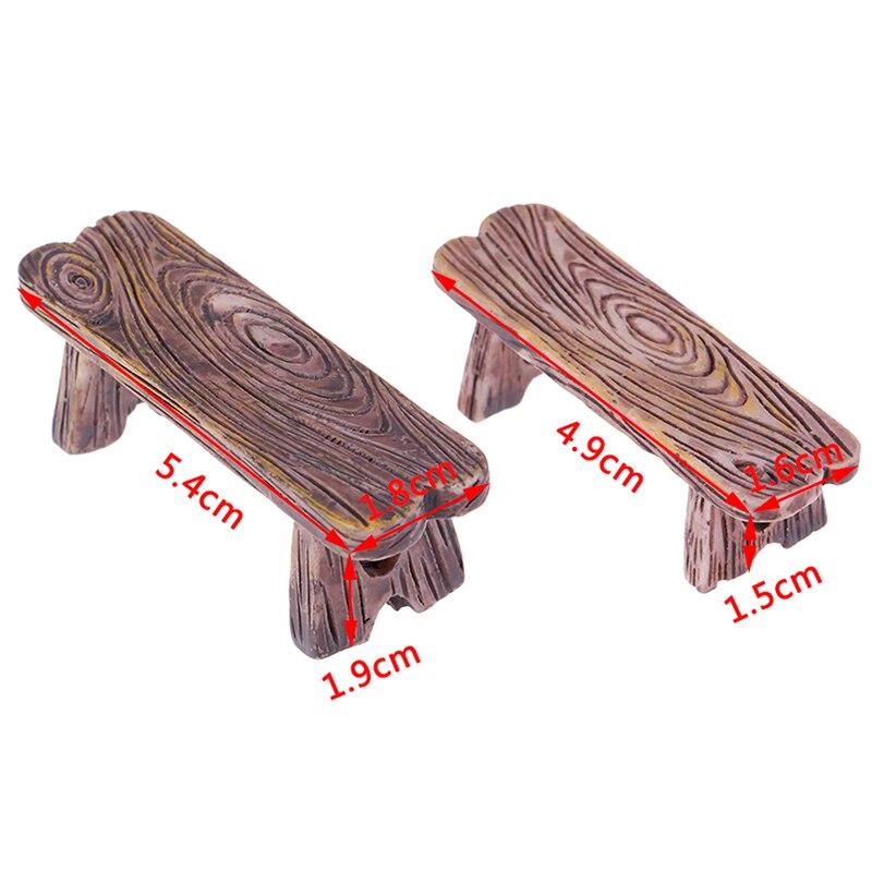2 uds silla de madera para casa de muñecas taburete de hadas miniaturas de jardín decoración pareja Banco figura de acción casas de muñecas de manualidades Accesorios