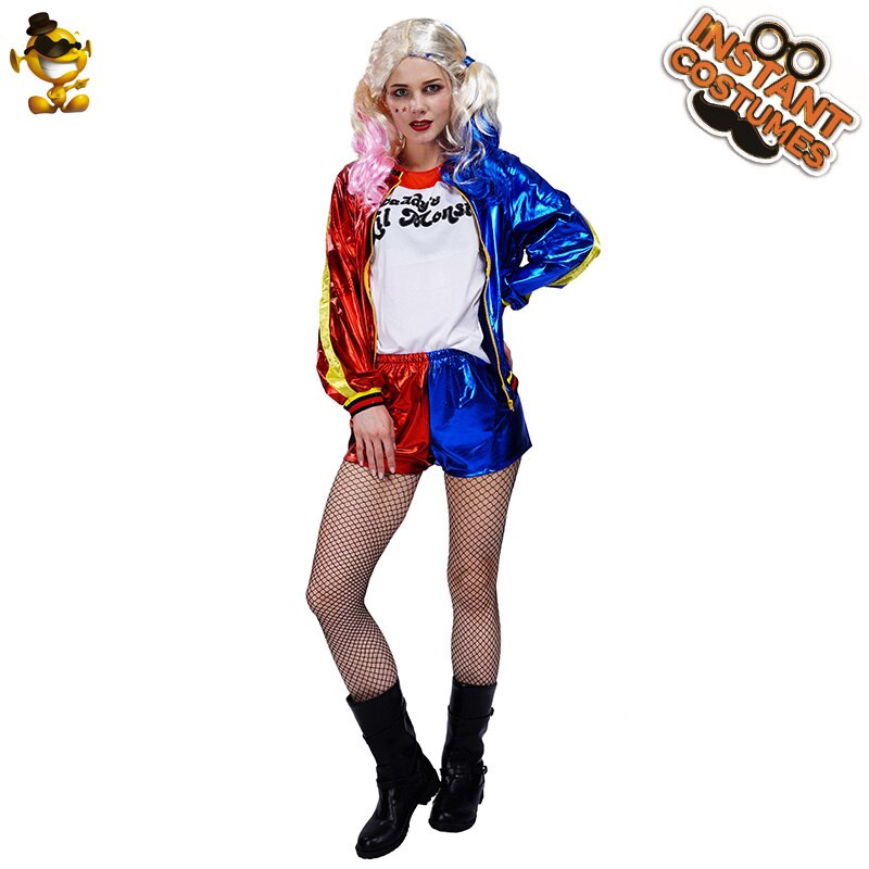 Harley Quinn disfraces para chicas fiesta de Halloween payaso chica adulto Sexy Harleen Quinze traje de Cosplay