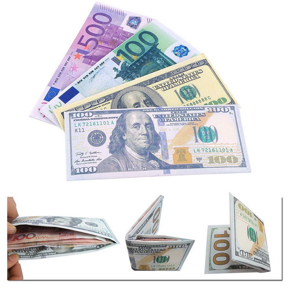 ISKYBOB Chic unisexe hommes femmes monnaie Notes motif livre Dollar Euro porte-monnaie portefeuilles mode argent Clips cadeaux livraison directe