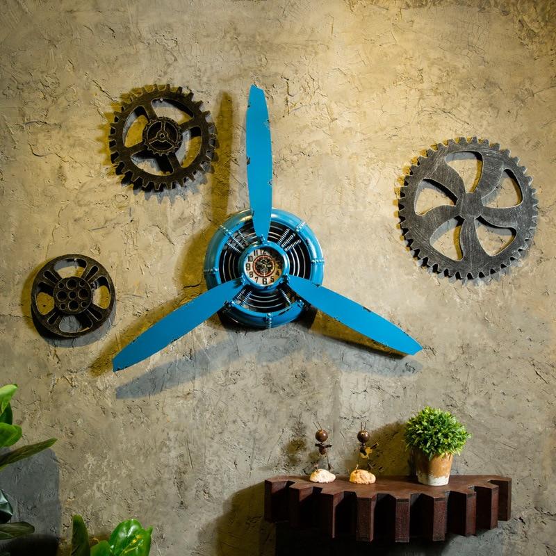 Creative Industrial Air Plane Propeller Metal Wall Clock Mute And HD Display Aeroplane Retro Ornament Decor Crafts mx9191502
