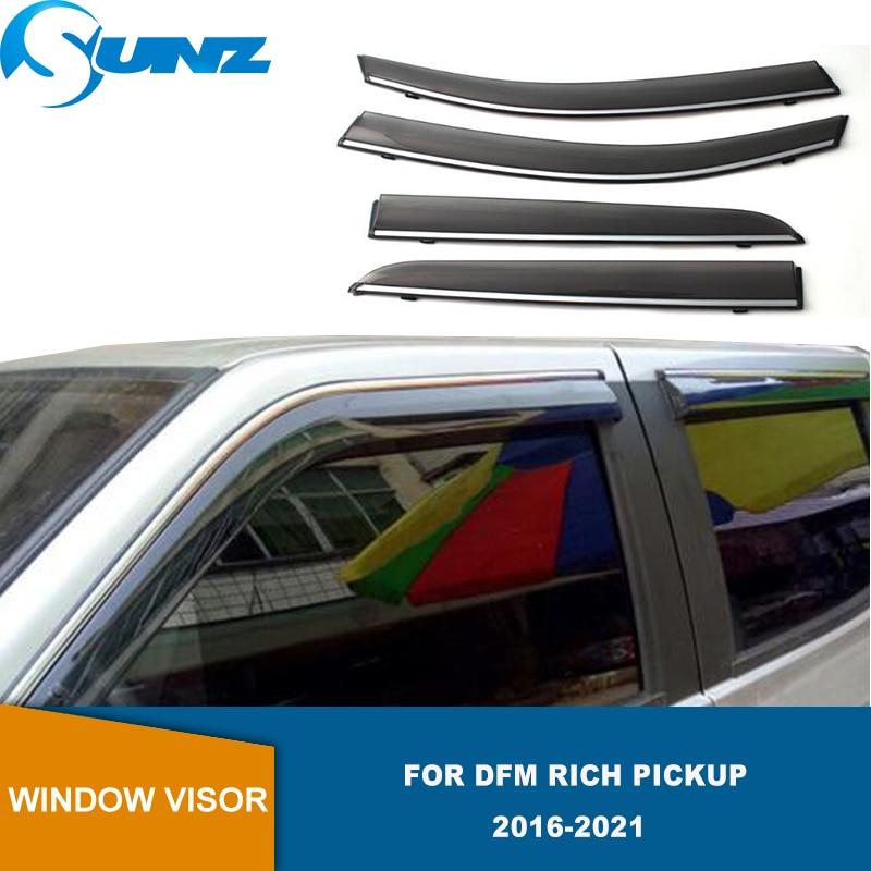Side Window Deflector For DFM Rich Pickup 2016 2017 2018 2019 2020 2021 Car Waterproof Decorative Strip Window Visor SUNZ