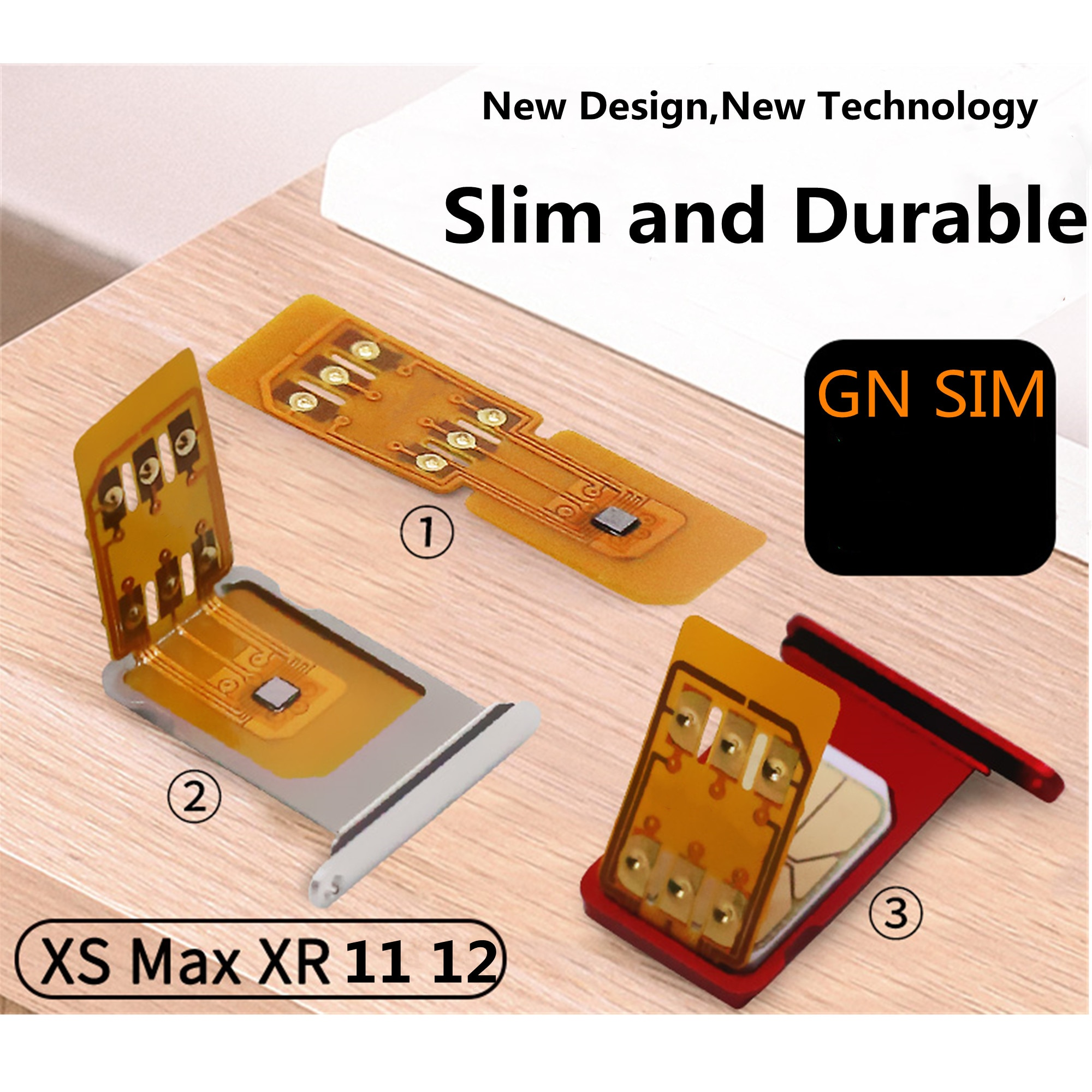 GN SIM Unlock Chip Foldable For IP XS XR 11 12 IOS 14.x Durable Good Quality Sim Unlock UPDATE PERFECT ICCID Auto Pop Up GNSIM enlarge