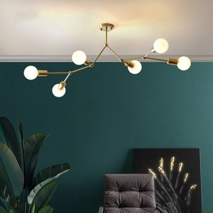 Modern LED Ceiling Chandelier Lighting Living Room Bedroom Molecular Chandeliers Multiple Heads Golden E27 Lighting Fixtures