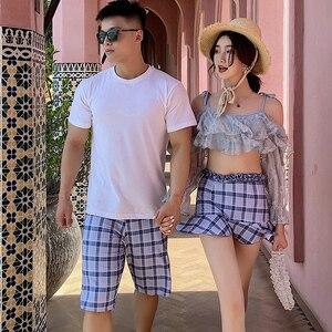 Trendy striped swimsuits for couples woman's bikini women swimwear bikini men's beach wear
