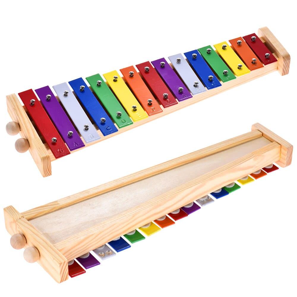 Glockenspiel xilófono de madera y aluminio instrumento Musical de percusión juguete educativo 15 tonos con 2 mazos para bebés y niños