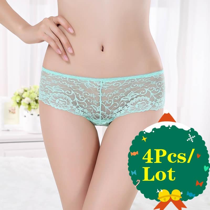 4Pcs/Lot Women's Underpant Transparent Underwear Seamless Skin-friendly One-piece Briefs Women Sexy Lace Low-Rise Panty Lingerie