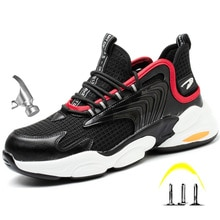2021 Male Work Boots Indestructible Safety Shoes Men Steel Toe Shoes Puncture-Proof Work Sneakers Ma