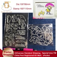 reunion umbrella girl metal cutting dies and stamps stencil for diy scrapbooking photo album embossing decorative paper card