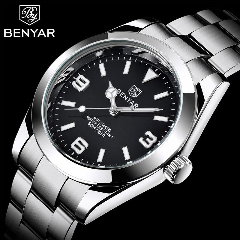 Relógios de Pulso à Prova Benyar Luxo Relógios Mecânicos Masculinos Moda Aço Inoxidável Dwaterproof Água Negócio Automático Reloj Hombres