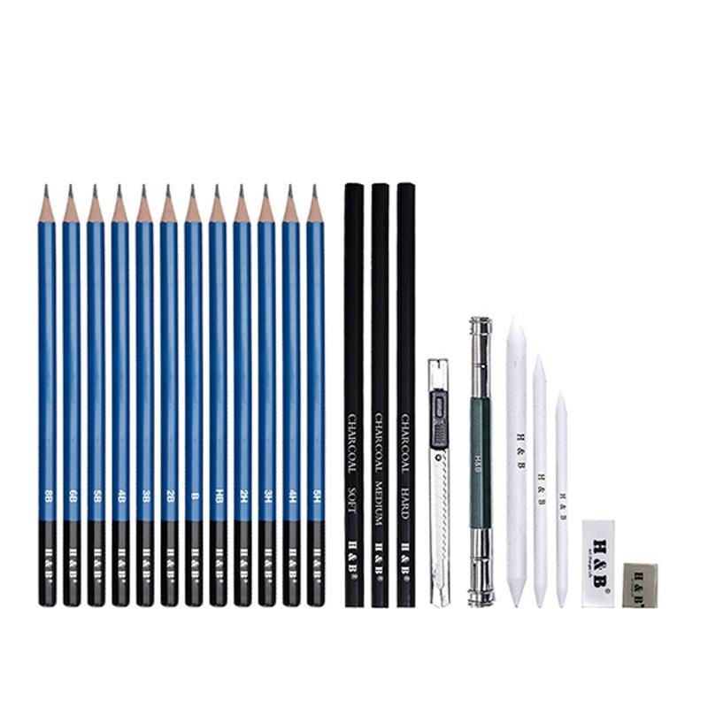 23 lápiz boceto lápiz conjunto pintura bolígrafo de carbono herramienta pluma cortina arte suministros conjunto completo de trajes de aprendizaje para estudiantes