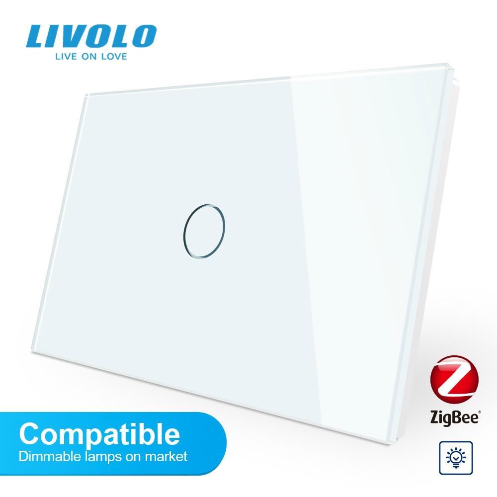 Livolo-مفتاح تعتيم ذكي قابل للتكيف مع wifi ، لوحة زجاجية كريستالية ، متوافق مع ZigBee ، إضاءة خافتة لأسفل