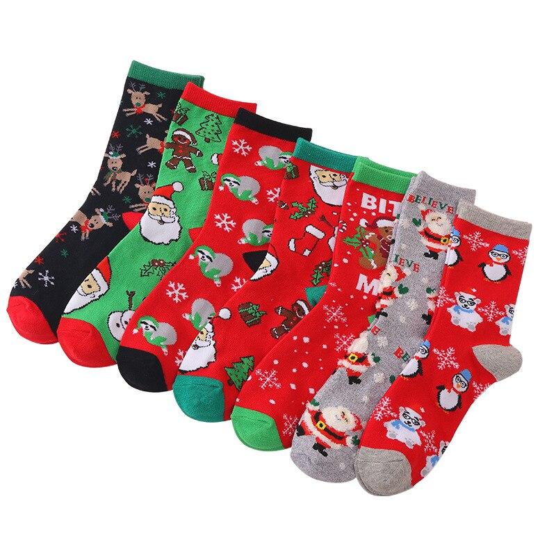 Зимние новые хлопковые носки с Санта-Клаусом, оленем, снеговиком, Новогодние рождественские носки, новогодние праздничные