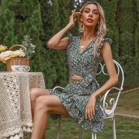 woman french floral wrap around v neck ruffled vest two piece suit womens summer dress sets 2021