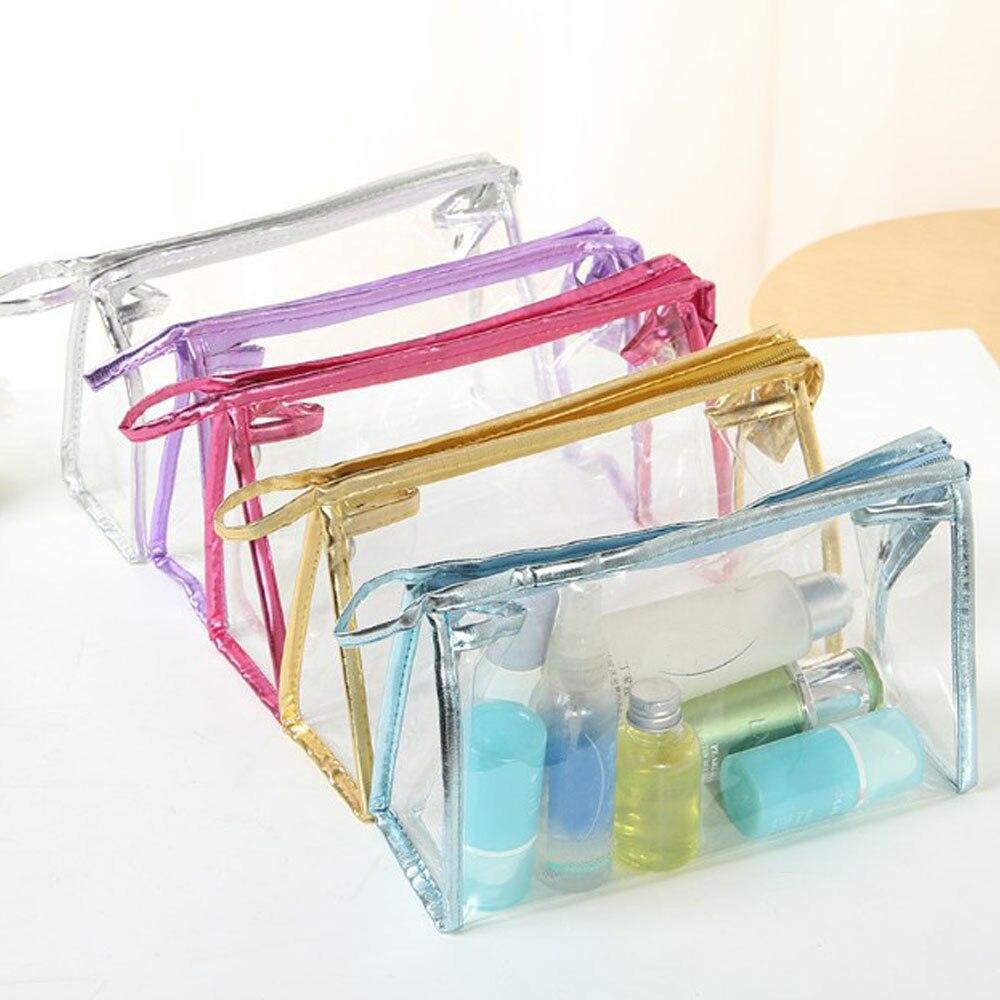 Women Makeup Bag PVC Waterproof Zipper Transparent Purse Toiletry Washing Box Case Organizer Portabl