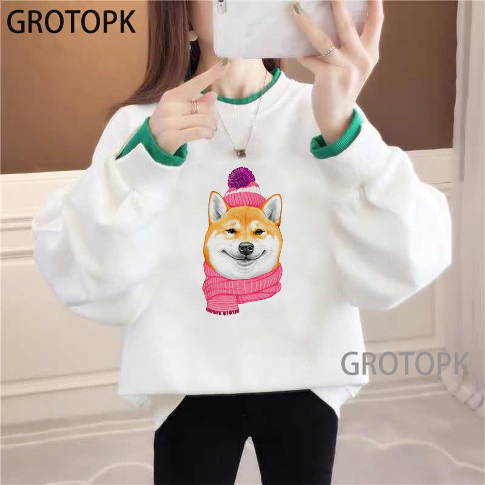 Encantadoras sudaderas Shiba Inu Doge para mujeres, lindas sudaderas con capucha de perro a la moda Harajuku Ullzang, sudaderas Kawaii Coreano de manga larga, sudaderas para mujer