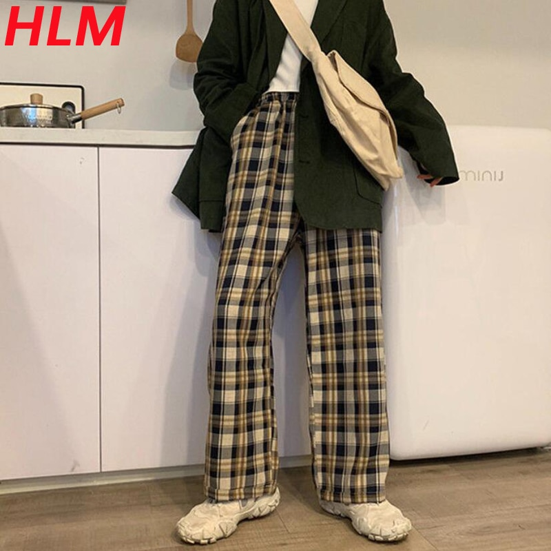 HLM Plaid Pants Classic Black and White Checked Pants Women High Waist Wide Leg Trousers Vintage Korean Elastic Waist Pants