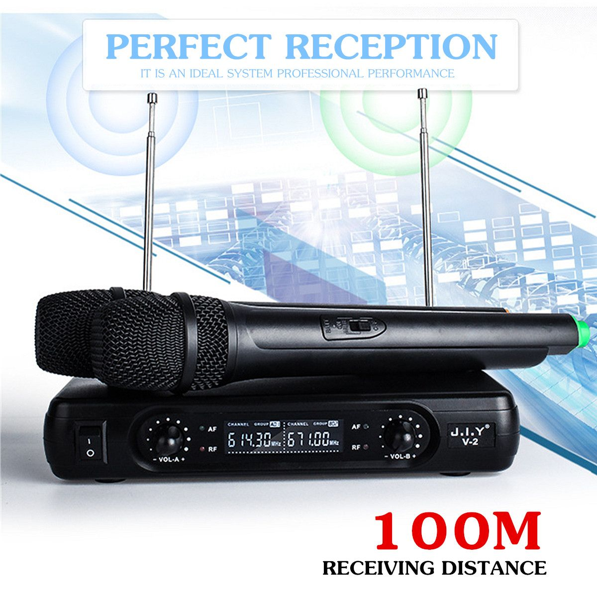 Dual Cordless Handheld Mic 2 Channel Wireless Microphone System with LCD Display High-fidelity Stability Large Receiving enlarge