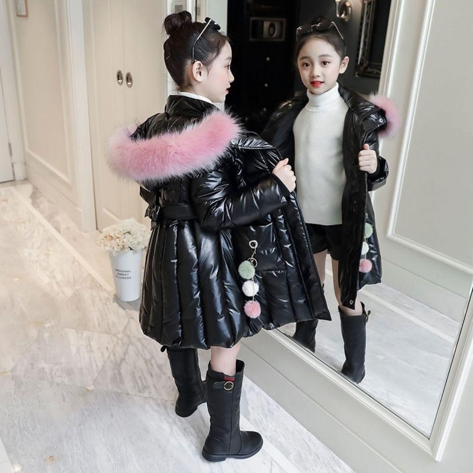 2020 Autumn Winter Girls Cotton Long Jacket&Outwear Children Cotton-padded Coats Kids Girls Clothes Warm Fur Hooded Parkas W456 enlarge