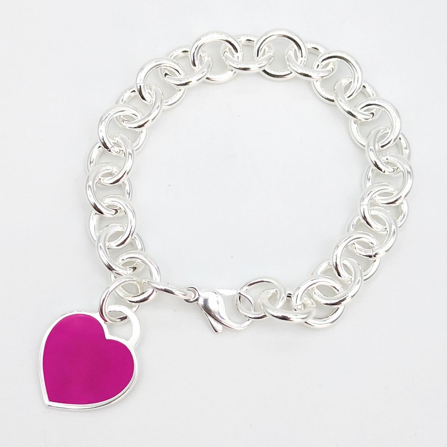 Новый женский классический браслет из стерлингового серебра S925 пробы с эмалью в форме сердца цвета фуксии, ювелирные изделия для пары, праз...