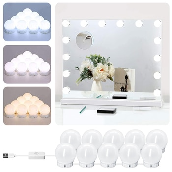 Lampe LED pour miroir de maquillage professionnel, rétro-éclairage complet, USB, variateur de lumière, 3 couleurs, éclairage de vanité Hollywood