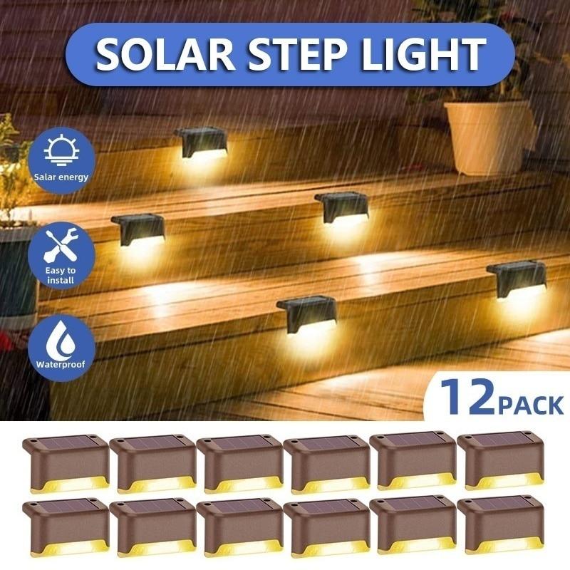 8/12 Uds LED colector Solar lámpara exterior escaleras luz impermeable paisaje luces para patio y camino