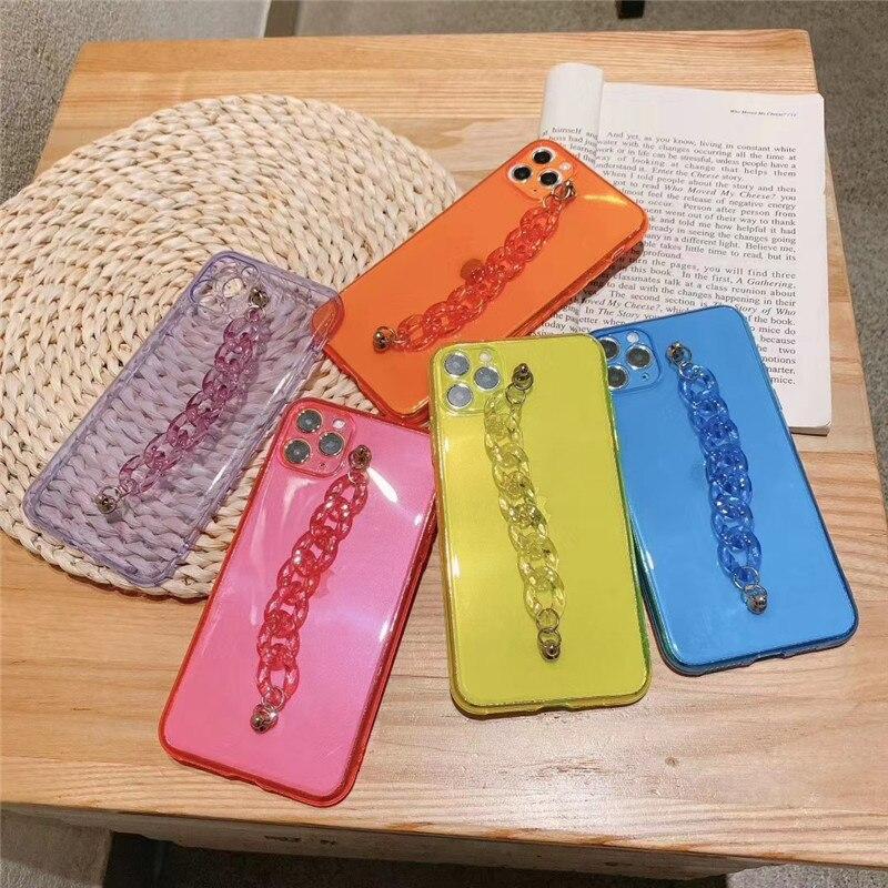 Cadena fluorescente de moda funda de teléfono para Xiaomi Mi 9 10 Pro para Redmi Note 7 8 9 9s Pro MAX K20 K30 Pro, funda protectora para cámara