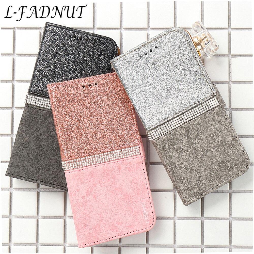 L-FADNUT para o iphone x caso xr xs 11 pro max luxo bling aleta carteira de couro titular capa para iphone 8 7 6s 6 plus 5 5S se capa