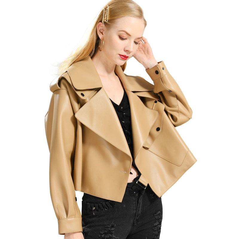 جلد طبيعي سترة المرأة الحقيقي جلد الغنم معطف جلد 2019 ربيع جديد الموضة سترة جلدية حقيقية