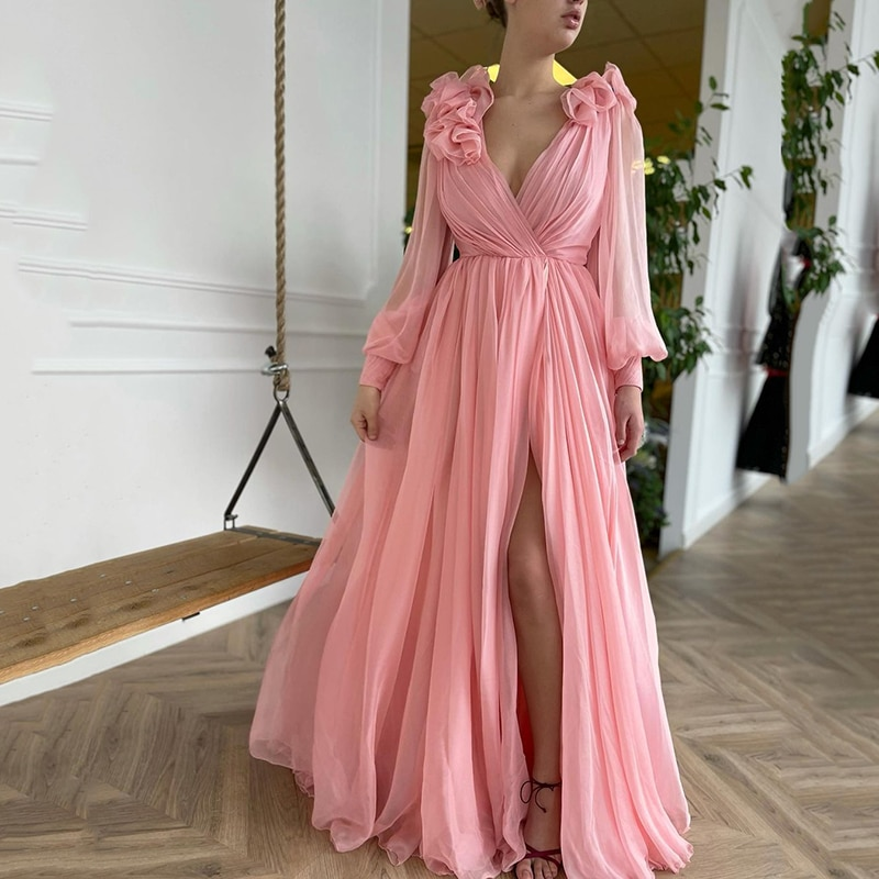 UZN Pink Chiffon Prom Dress A-Line V-Neck Long Sleeves Pleated High Side Split Flowers Saudi Arabia Evening Party Gown Customize
