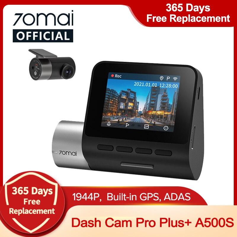 70mai 대쉬 캠 프로 플러스 A500S 1944P 속도 및 GPS 캠 자동차 DVR A500S 나이트 비전 무료 와이파이 전면 및 후면 카메라, 70mai 프로 플러스 A500S