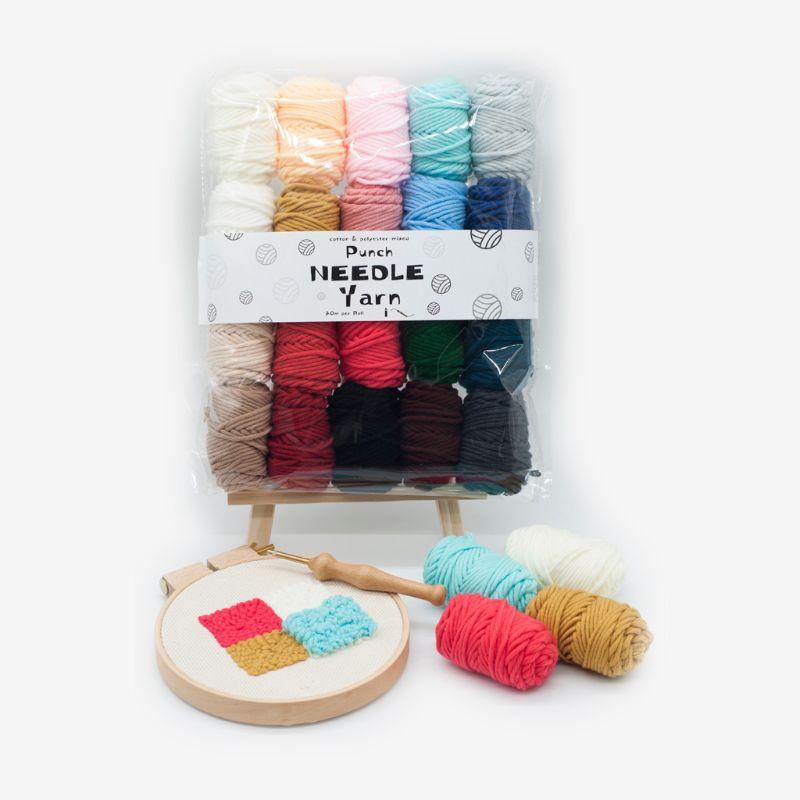 20 Colors Embroidery Cross Stitch Punch Needle Felting Thread Yarn Fabric Cloth