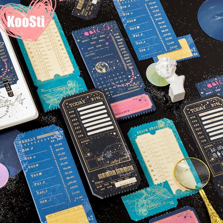 20 unids/set Bloc de notas Vintage papel Bloc de notas Post It diario planificador DIY estampado dorado artesanía nota galaxia útiles escolares