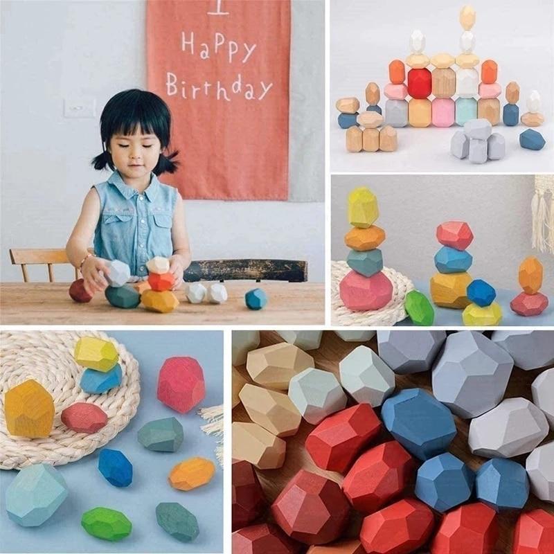 Jenga de madera bloques de construcción de piedra de color creativo juguetes educativos, estilo nórdico, juego de apilamiento de piedra del arco iris juguete de bloques de madera
