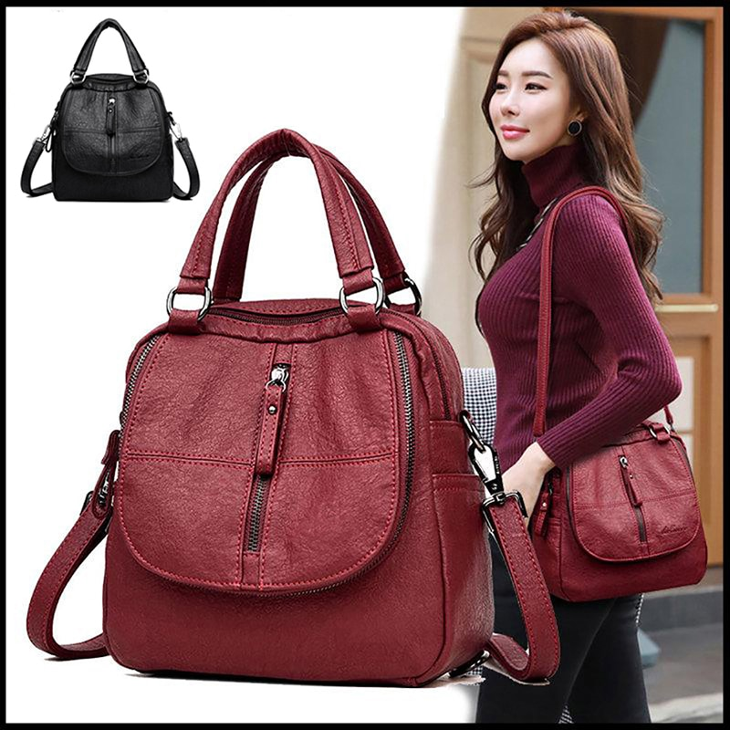 Brand Leather Women's Backpack School Bag Casual Backpack For Girls Double Zipper Leisure Shoulder Bags 2020 New casual backpack female brand leather women s backpack large capacity school bag for girls double zipper leisure shoulder bags