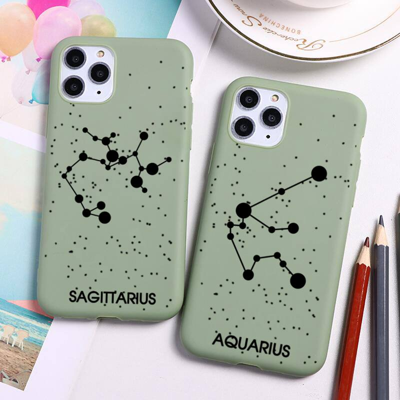 Twelve Constellations Phone Case For iphone 12 11 Pro Max Mini XS 8 7 6 6S Plus X SE 2020 XR Candy g